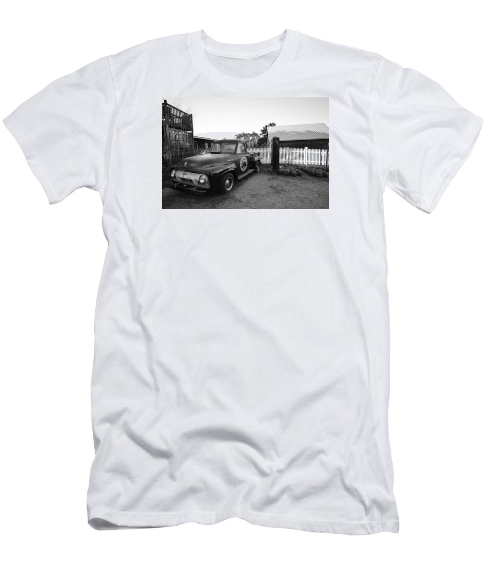 Ipswich Men's T-Shirt (Athletic Fit) featuring the photograph Russel Farms 1951 Ford F100 Black And White by Toby McGuire