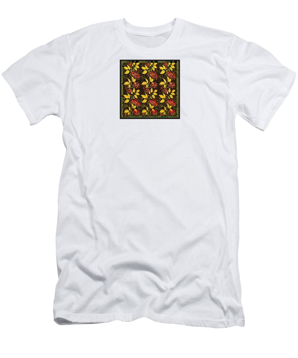 Pattern Men's T-Shirt (Athletic Fit) featuring the digital art russian pattern Hohloma by Ella Boughton