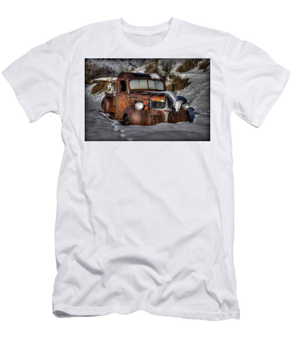 Winter Men's T-Shirt (Athletic Fit) featuring the photograph Rusting In Winter by Michael Morse
