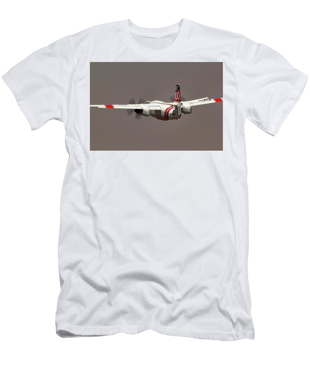 Calfire Men's T-Shirt (Athletic Fit) featuring the photograph S-2f3at Tracker Into The Smoke by Rick Pisio