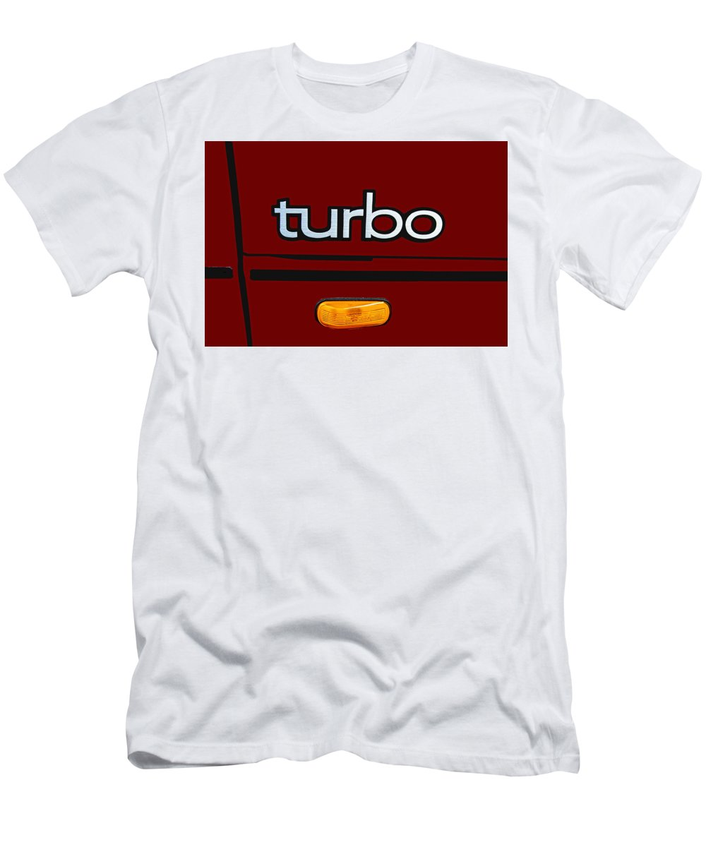 Saab Men's T-Shirt (Athletic Fit) featuring the photograph Saab 900 S Turbo Logo by Nick Gray