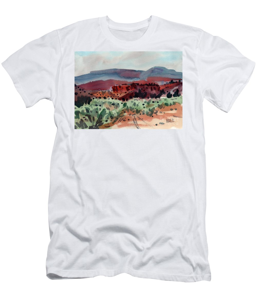 Southwestern Landscape Men's T-Shirt (Athletic Fit) featuring the painting Sage Sand And Sierra by Donald Maier