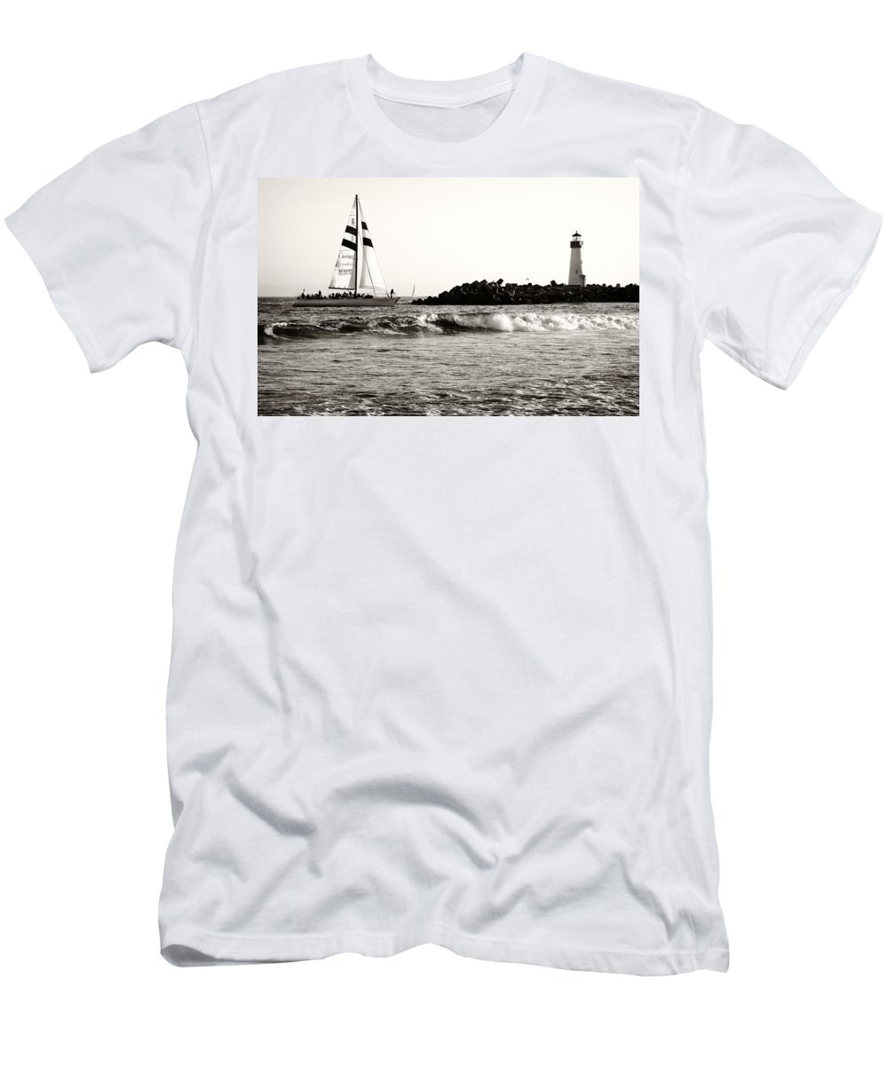 Santa Cruz Men's T-Shirt (Athletic Fit) featuring the photograph Sailboat And Lighthouse 2 by Marilyn Hunt