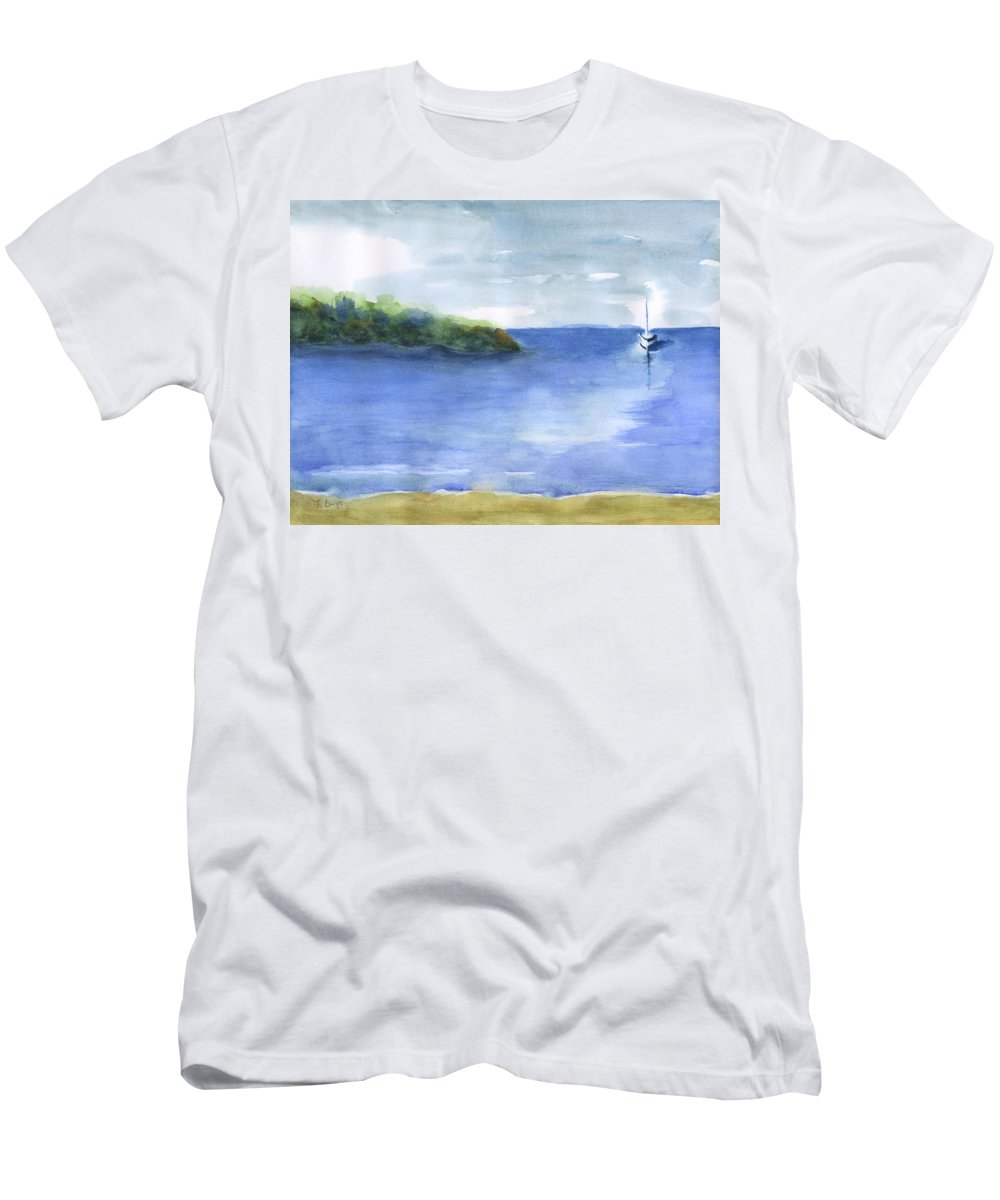 Sailboat In Still Waters Men's T-Shirt (Athletic Fit) featuring the painting Sailboat In Still Waters by Frank Bright