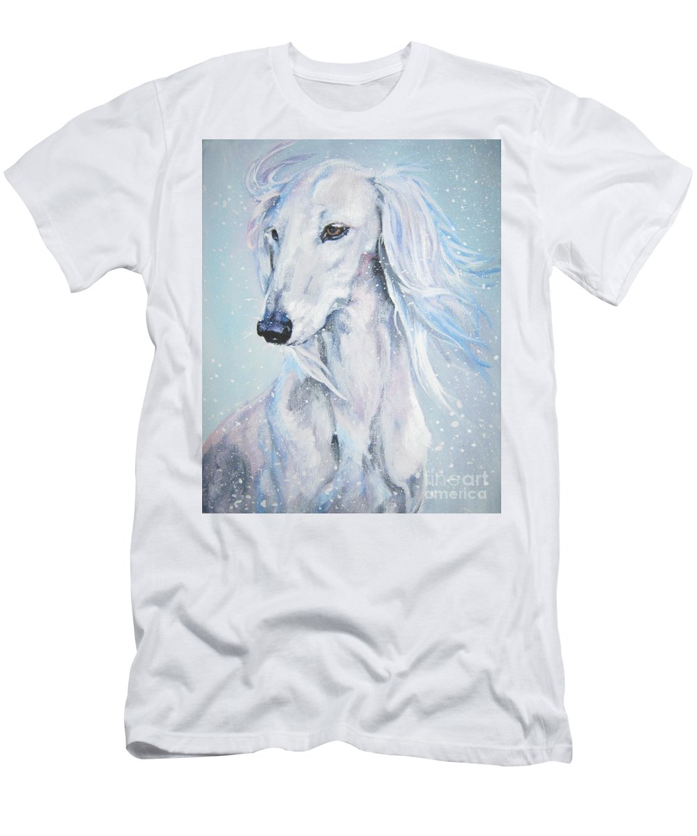 Dog Men's T-Shirt (Athletic Fit) featuring the painting Saluki White Beauty by Lee Ann Shepard