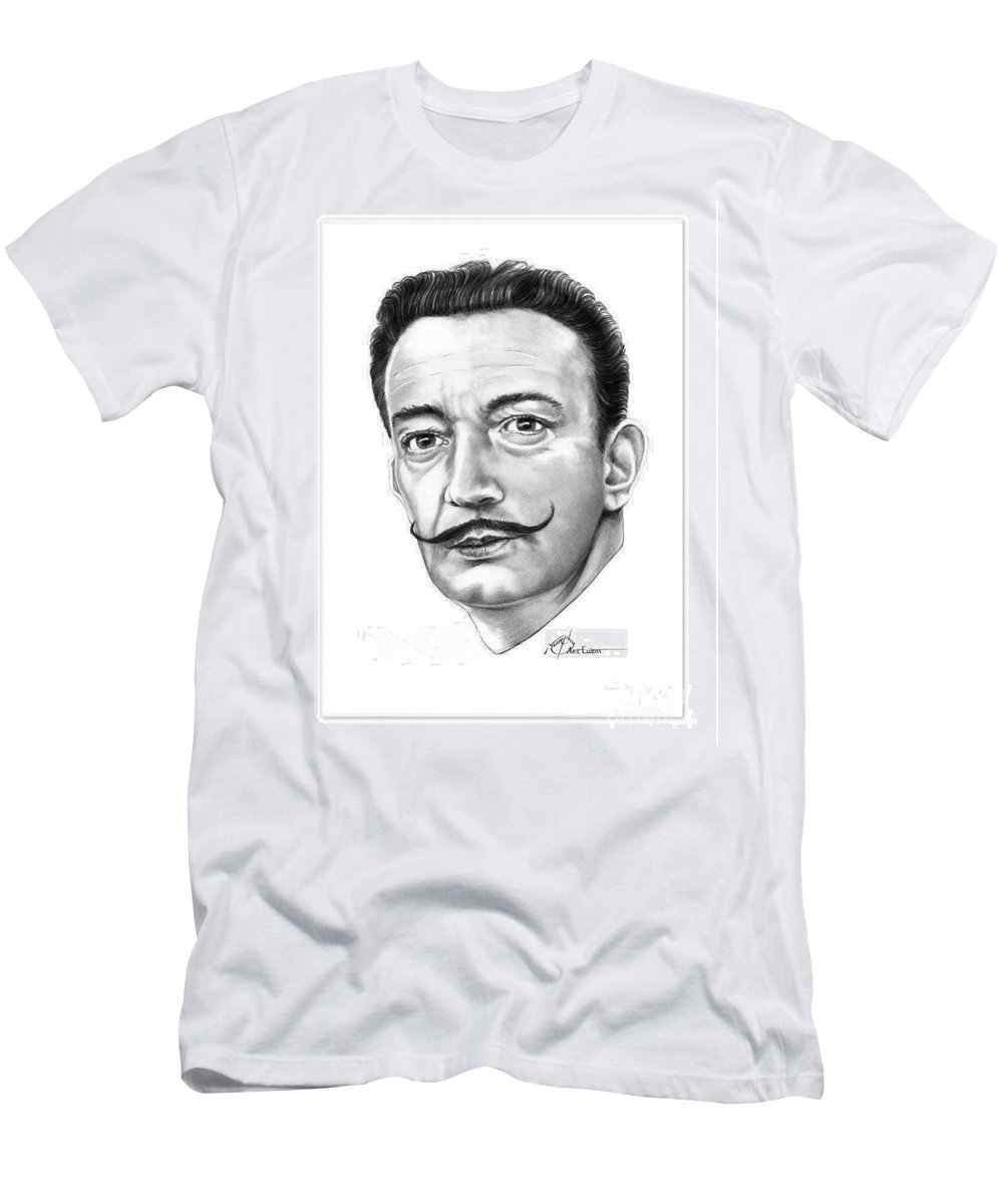Drawing Men's T-Shirt (Athletic Fit) featuring the drawing Salvador Dali by Murphy Elliott