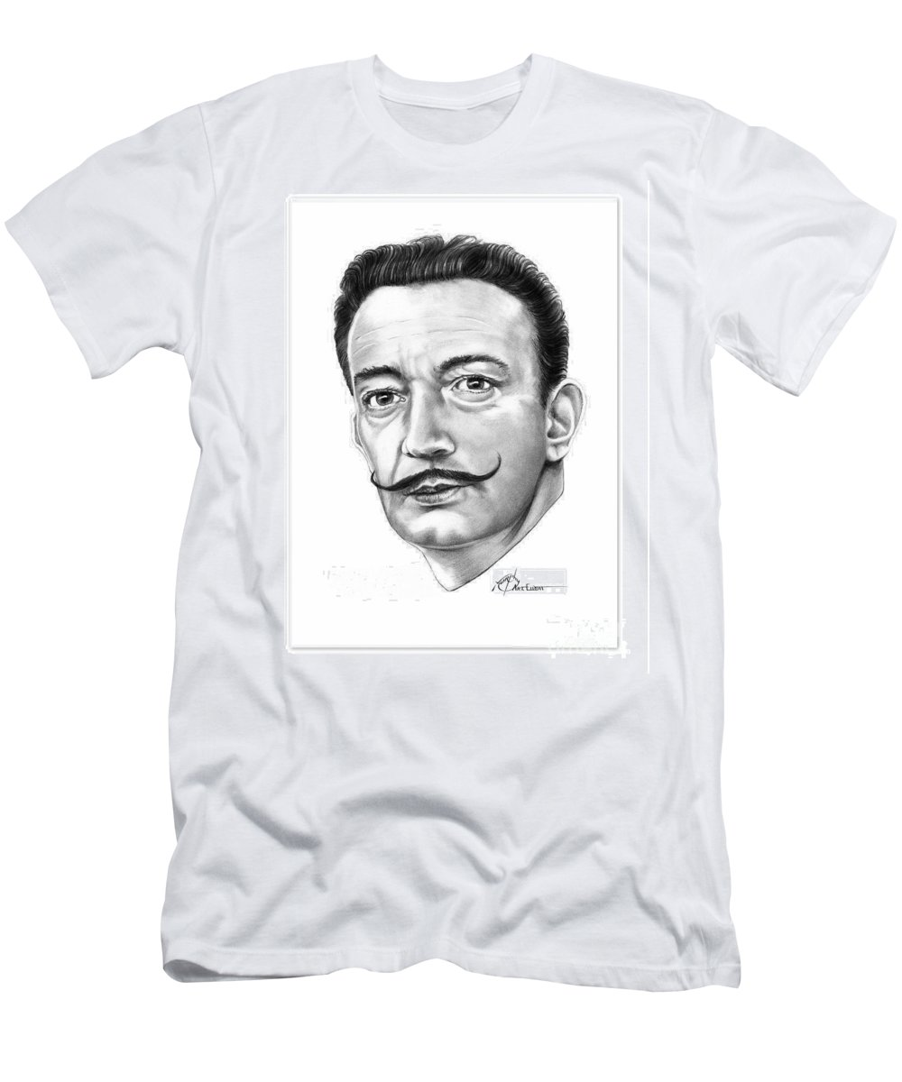 Salvador Dali Men's T-Shirt (Athletic Fit) featuring the drawing Salvador Dali by Murphy Elliott