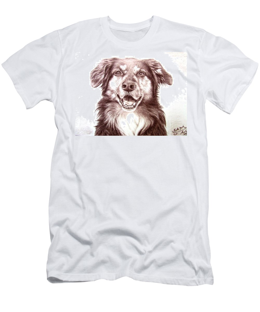 Dog Men's T-Shirt (Athletic Fit) featuring the drawing Sam by Nicole Zeug
