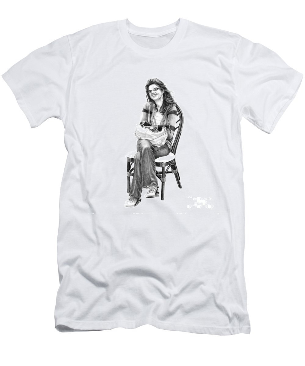 Figure Drawing Men's T-Shirt (Athletic Fit) featuring the drawing Samantha Jonice Elliott by Murphy Elliott