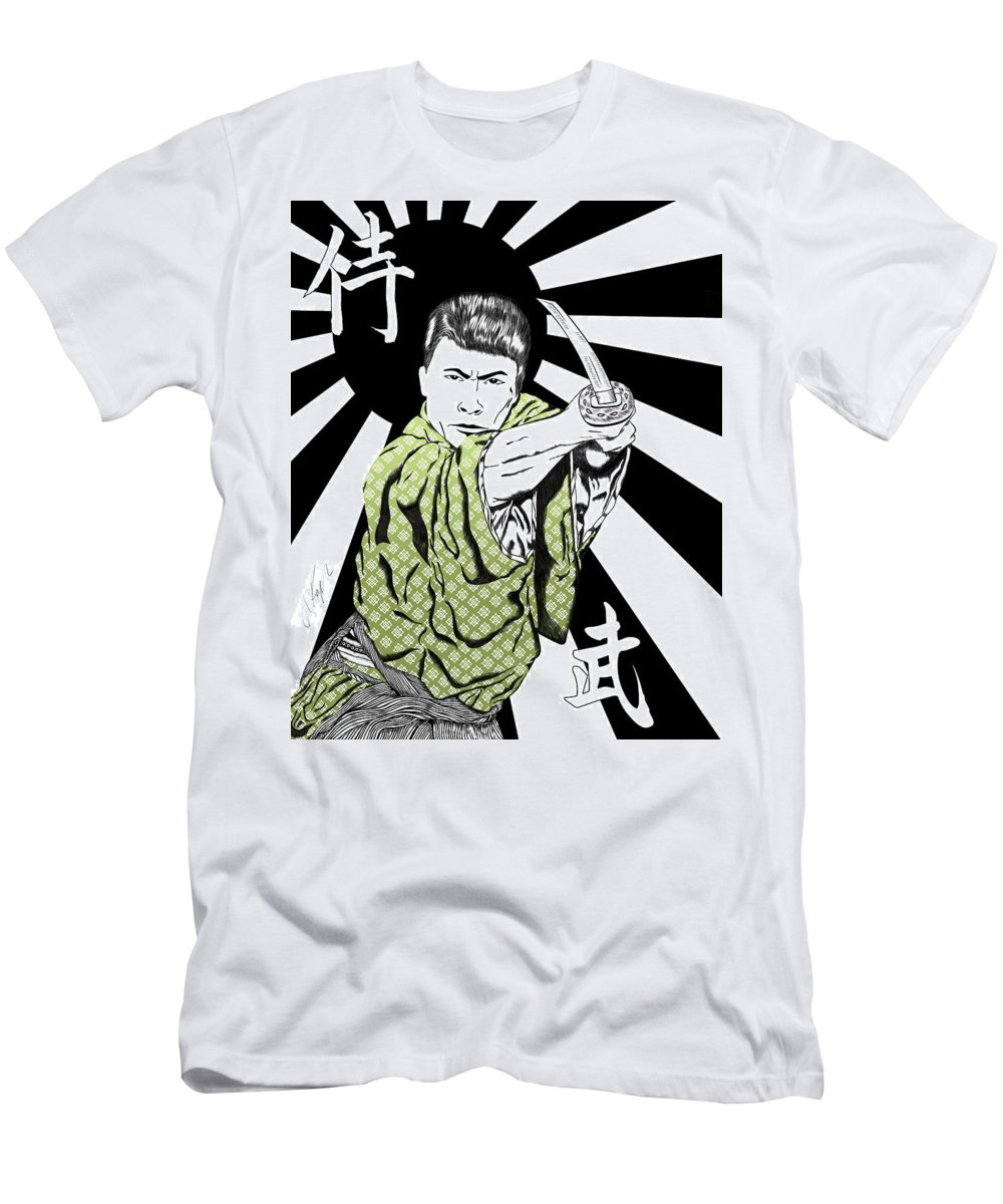 Men's T-Shirt (Athletic Fit) featuring the drawing Samurai Warrior by Albert Kopper
