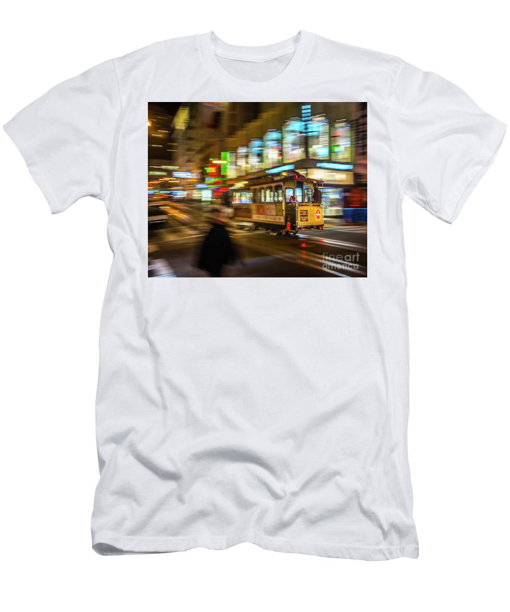 San Francisco Cable Car Men's T-Shirt (Athletic Fit) featuring the photograph San Francisco Cable Car by Michael Tidwell