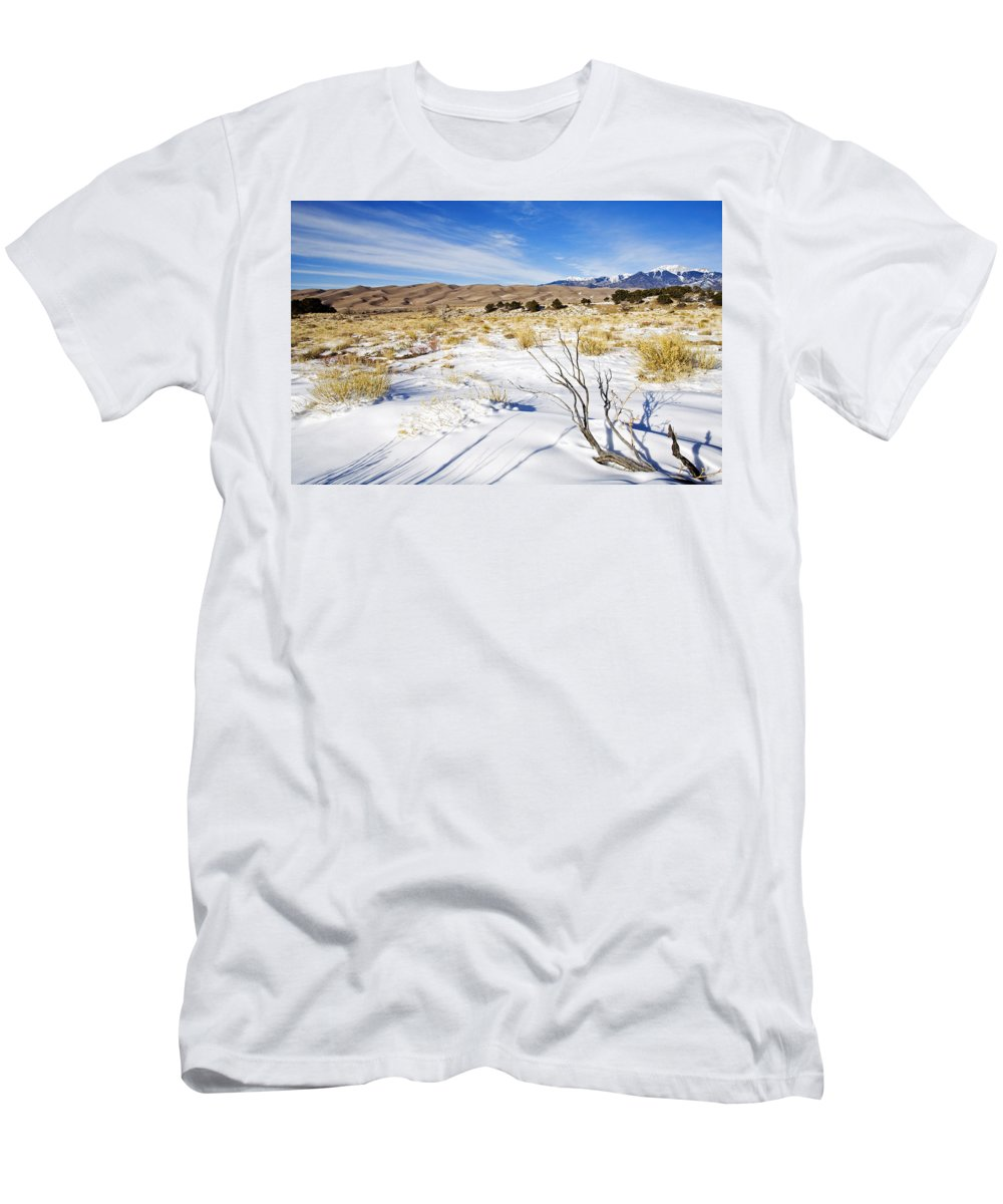 Snow Men's T-Shirt (Athletic Fit) featuring the photograph Sand And Snow by Mike Dawson