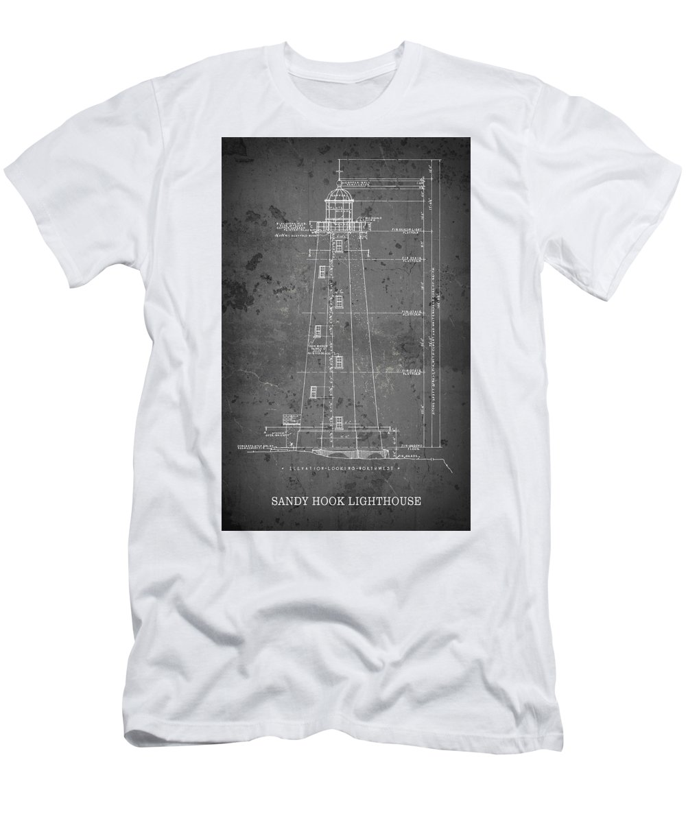 Sandy hook lighthouse blueprint new jersey t shirt for sale by lighthouse mens t shirt athletic fit featuring the digital art sandy hook lighthouse malvernweather Image collections