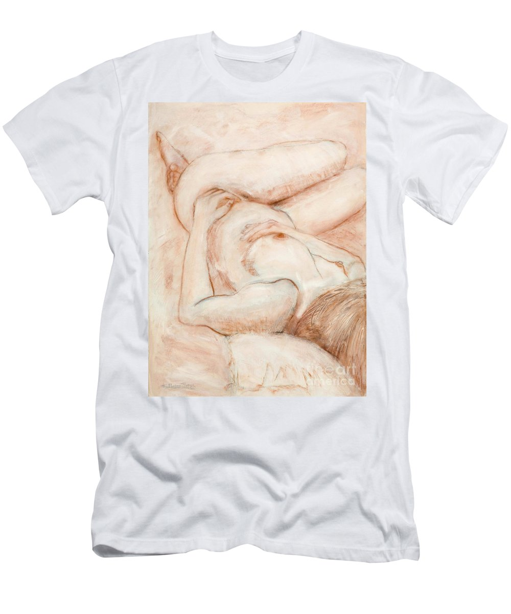 Female Men's T-Shirt (Athletic Fit) featuring the drawing Sanguine Nude by Kerryn Madsen-Pietsch