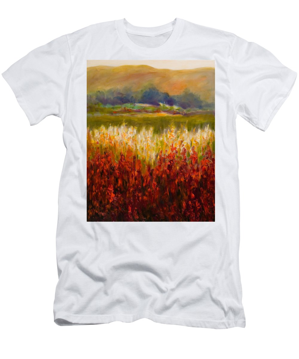 Landscape Men's T-Shirt (Slim Fit) featuring the painting Santa Rosa Valley by Shannon Grissom