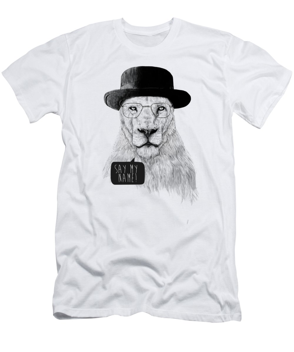 Lion T-Shirt featuring the mixed media Say my name by Balazs Solti