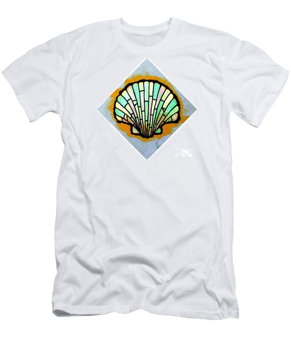Shell Men's T-Shirt (Athletic Fit) featuring the painting Scallop Shell by Jim Harris