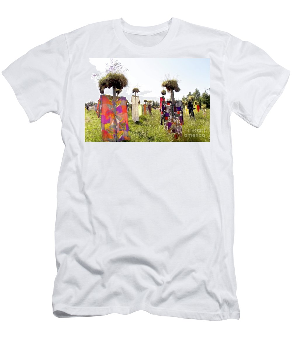 Scarecrow Men's T-Shirt (Athletic Fit) featuring the photograph Scarecrows by Heiko Koehrer-Wagner