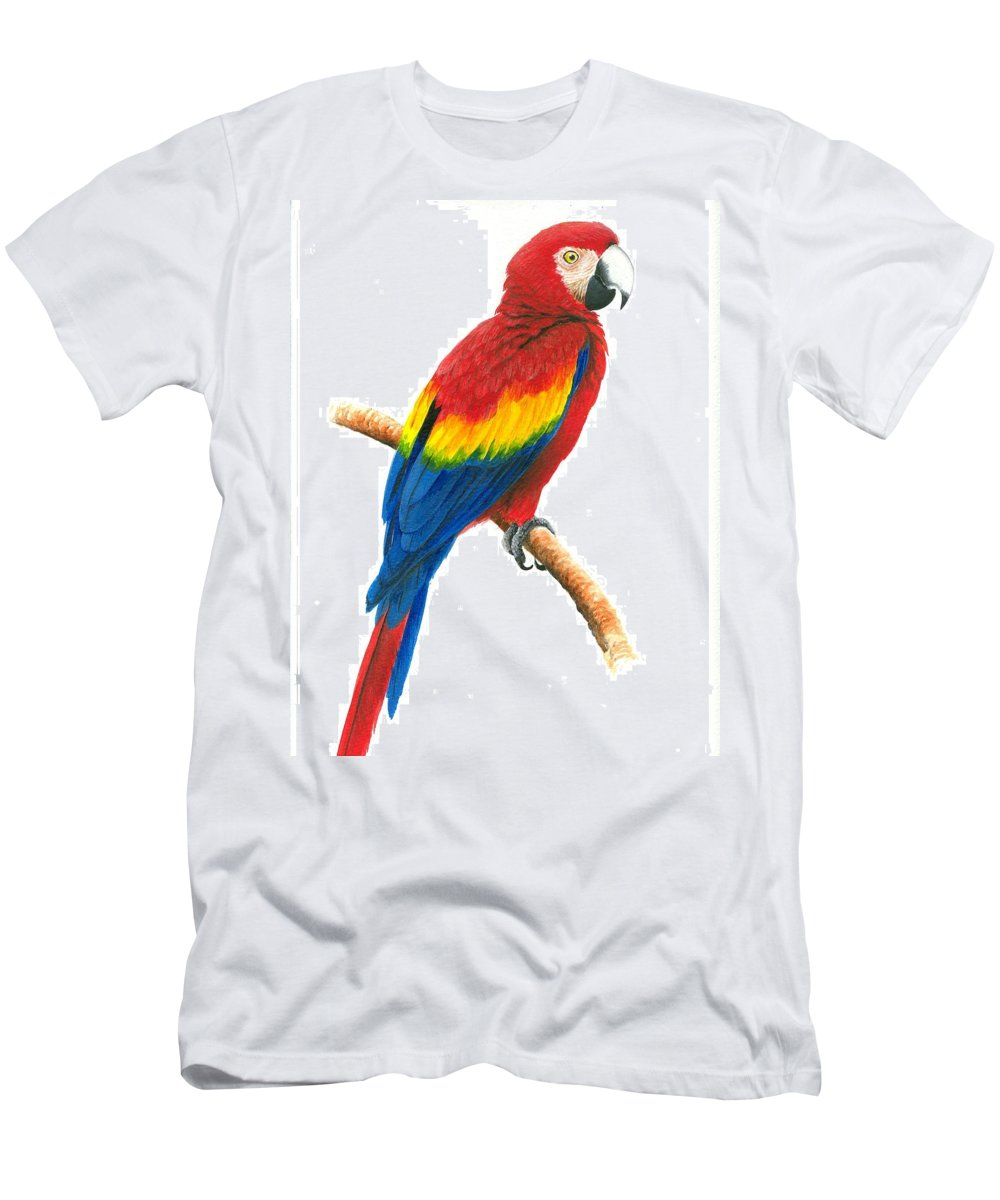 Chris Cox Men's T-Shirt (Athletic Fit) featuring the painting Scarlet Macaw by Christopher Cox