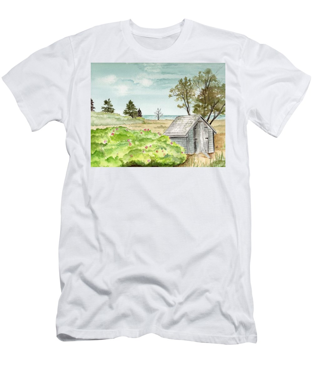 Landscape Watercolor Scenery Scenic Trees Roses Shed Building Art Painting Maine Men's T-Shirt (Athletic Fit) featuring the painting Scenic Maine  by Brenda Owen
