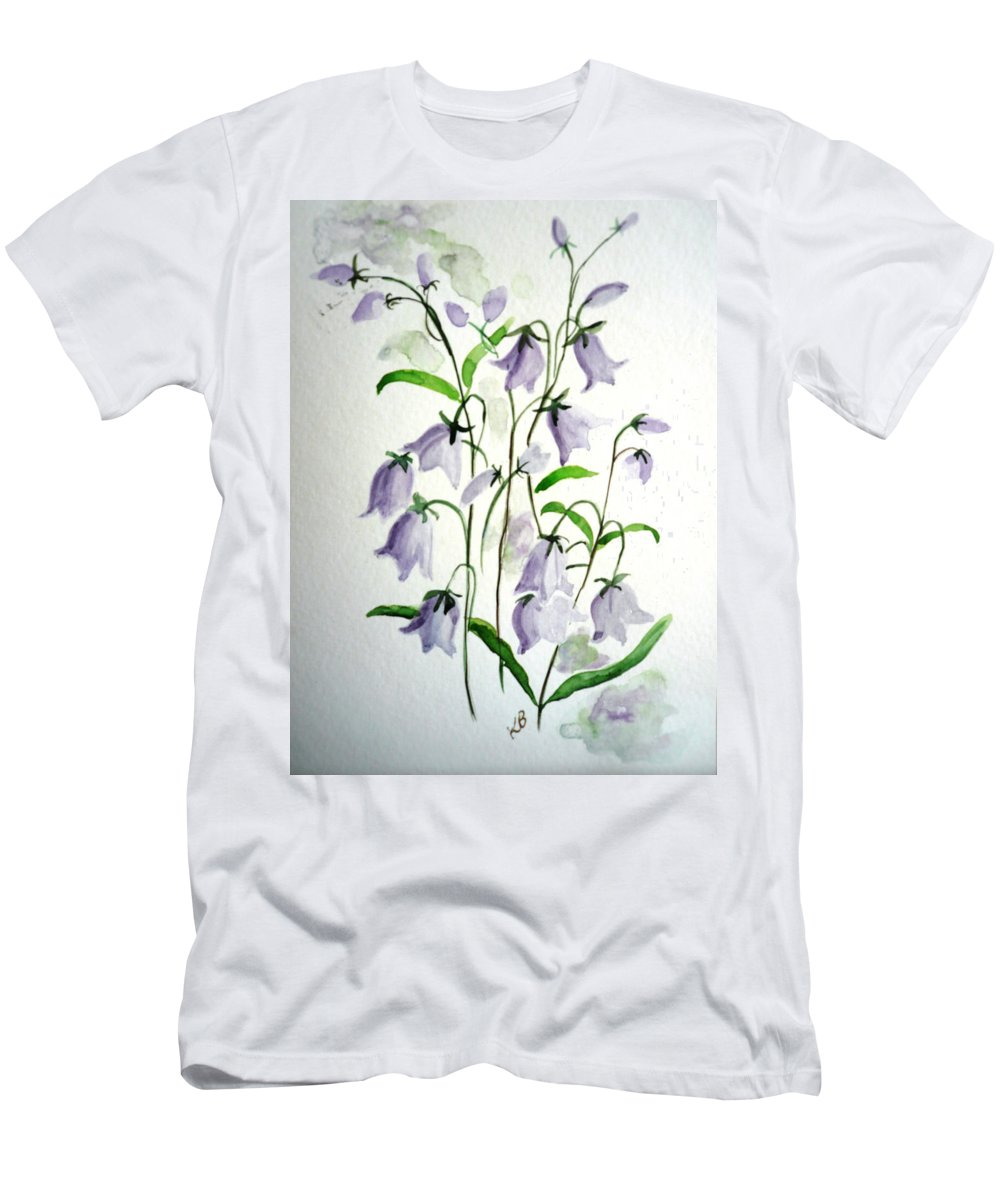 Blue Bells Hare Bells Purple Flower Flora Men's T-Shirt (Athletic Fit) featuring the painting Scottish Blue Bells by Karin Dawn Kelshall- Best
