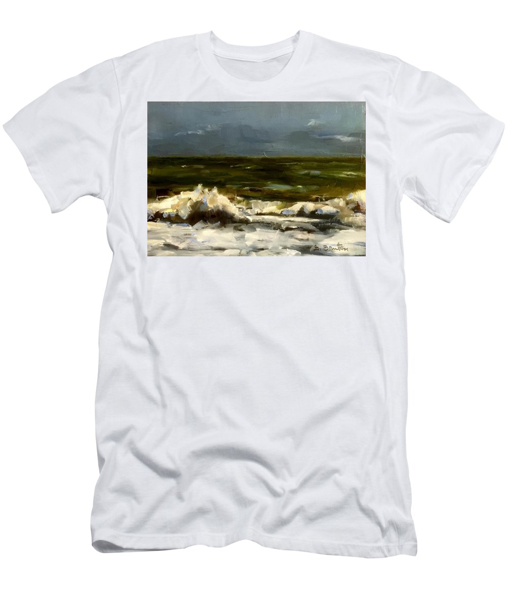 Waves Men's T-Shirt (Athletic Fit) featuring the painting Sea And Sky by Gary Bruton