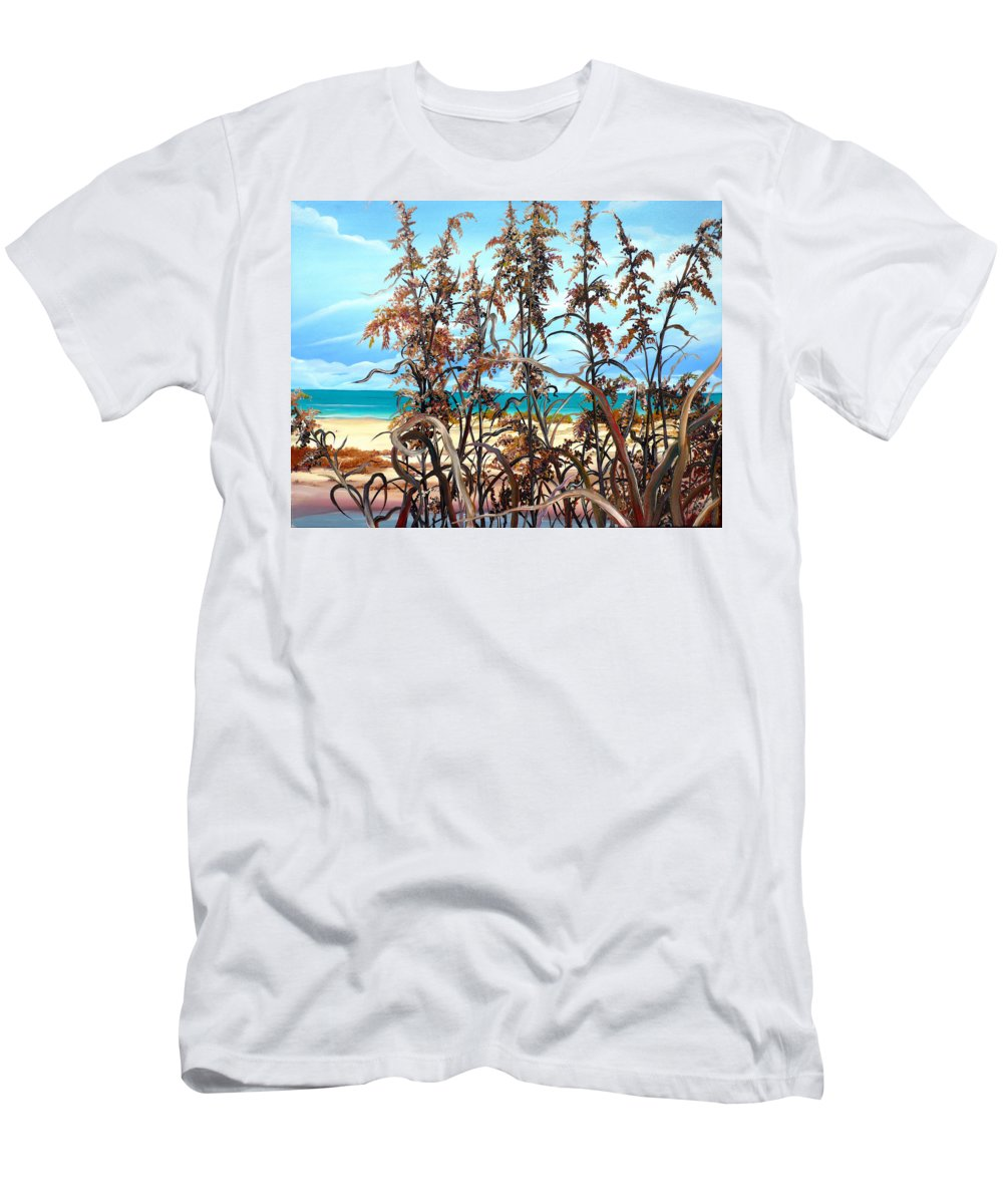 Ocean Painting Sea Oats Painting Beach Painting Seascape Painting Beach Painting Florida Painting Greeting Card Painting Men's T-Shirt (Athletic Fit) featuring the painting Sea Oats by Karin Dawn Kelshall- Best