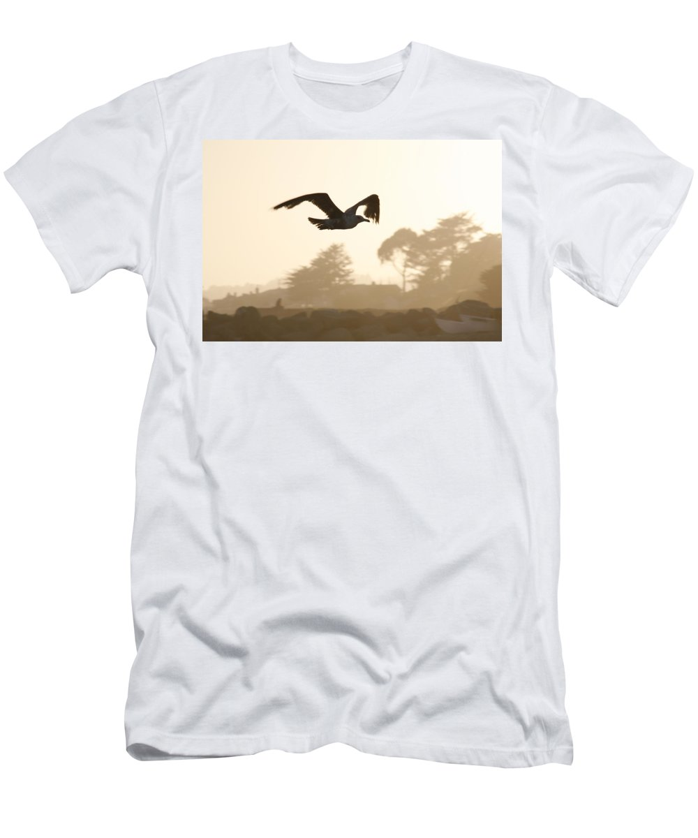 Bird Men's T-Shirt (Athletic Fit) featuring the photograph Seagull Sihlouette by Marilyn Hunt