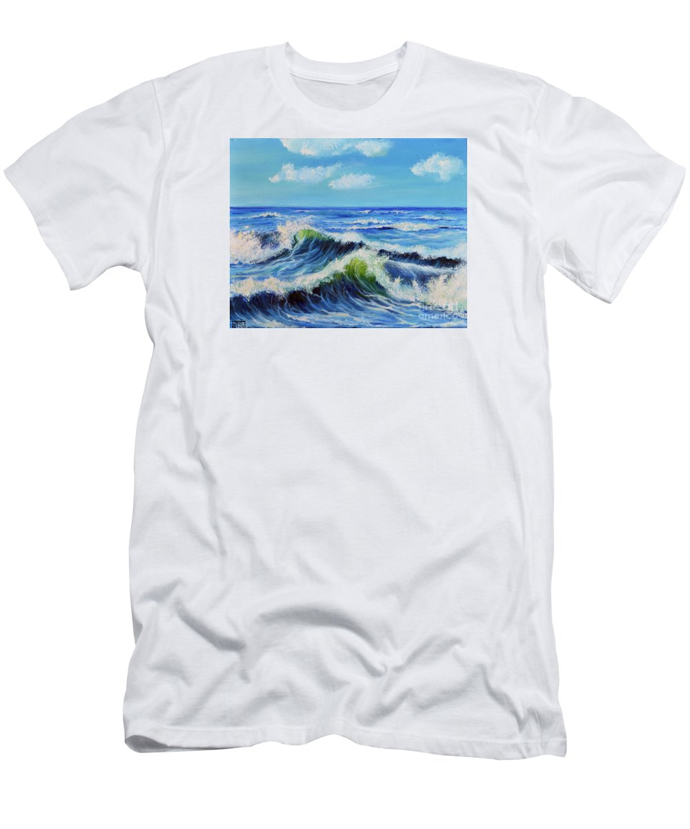 Seascape Men's T-Shirt (Athletic Fit) featuring the painting Seascape No.3 by Teresa Wegrzyn
