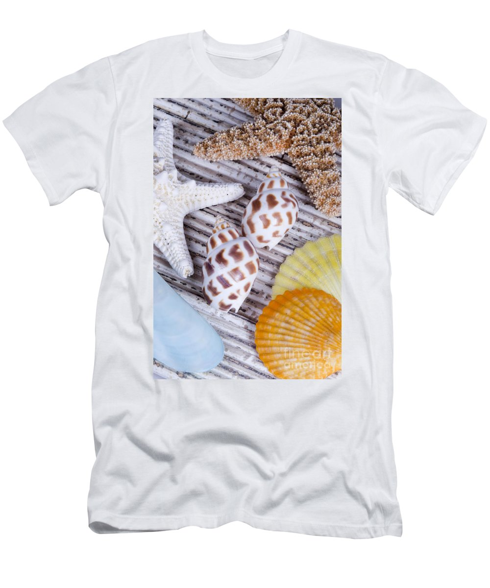 Assortment Men's T-Shirt (Athletic Fit) featuring the photograph Seashells And Starfish by Bill Brennan - Printscapes