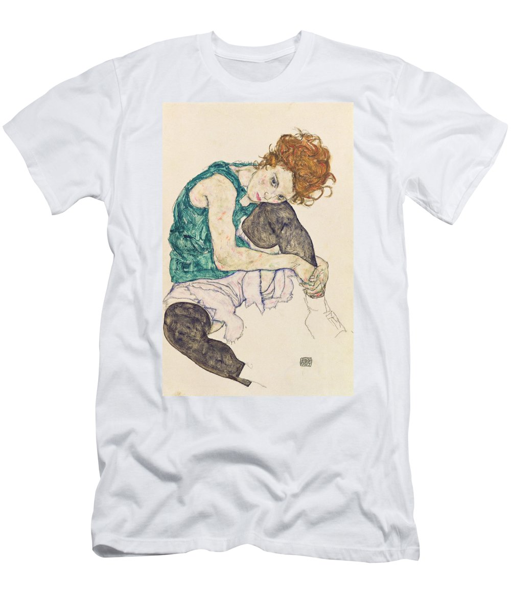 Egon Schiele T-Shirt featuring the painting Seated Woman with Bent Knee by Egon Schiele