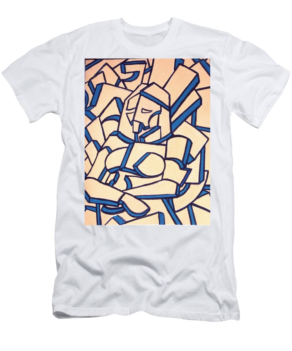 Girl Men's T-Shirt (Athletic Fit) featuring the painting Seated Women by Thomas Valentine