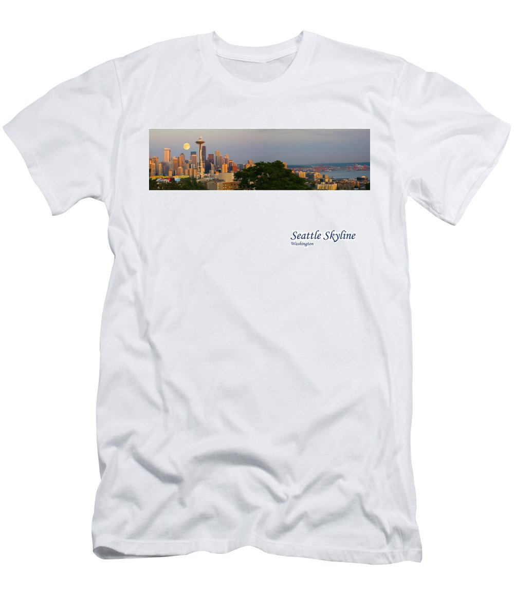 Seattle Men's T-Shirt (Athletic Fit) featuring the photograph Seattle Skyline by Karen Ulvestad
