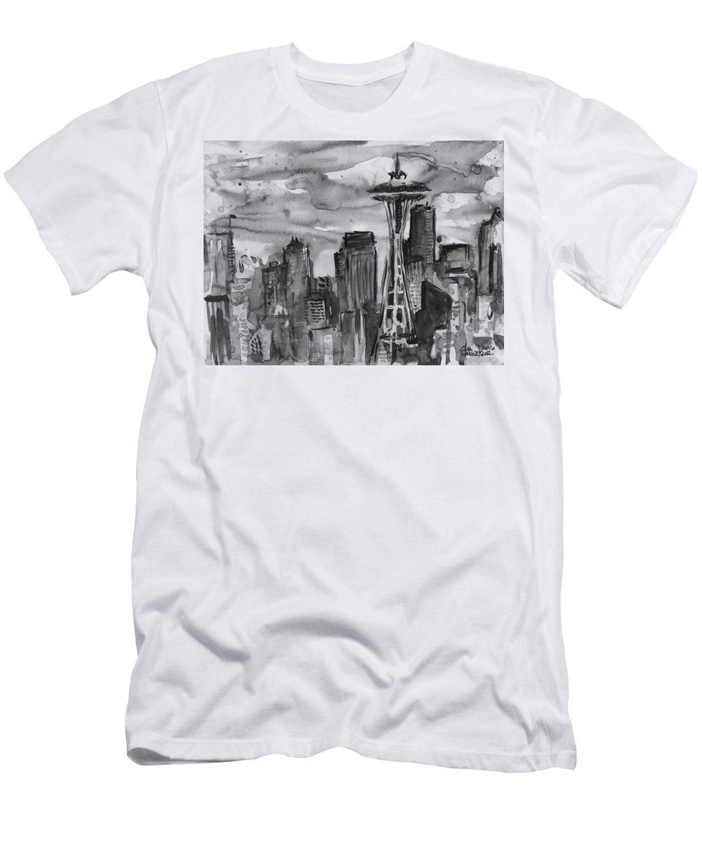 439c19b5cb1537 Seattle Men s T-Shirt (Athletic Fit) featuring the painting Seattle Skyline  Space Needle