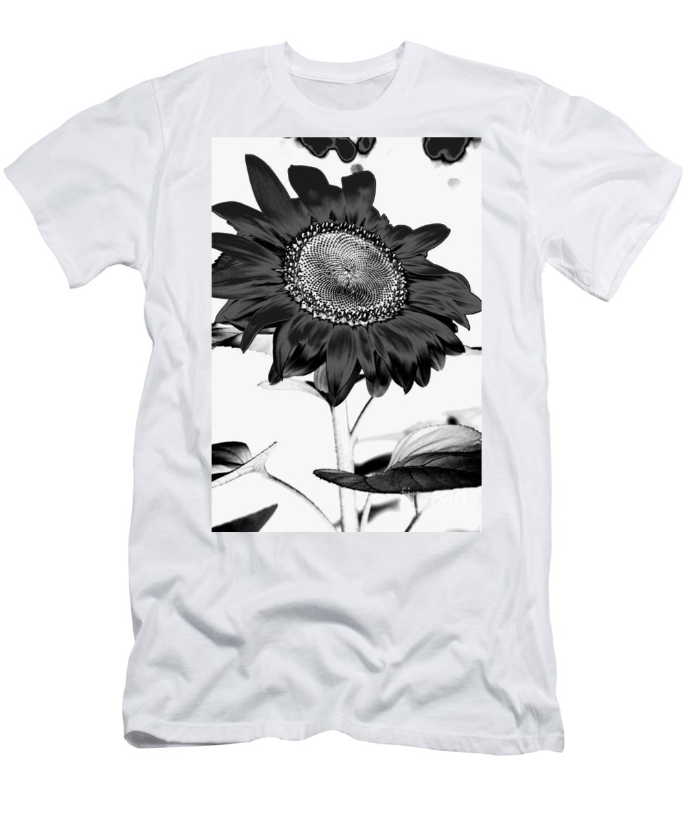 Black And White Photography Men's T-Shirt (Athletic Fit) featuring the photograph Seattle Sunflower Bw Invert - Stronger by Heather Kirk