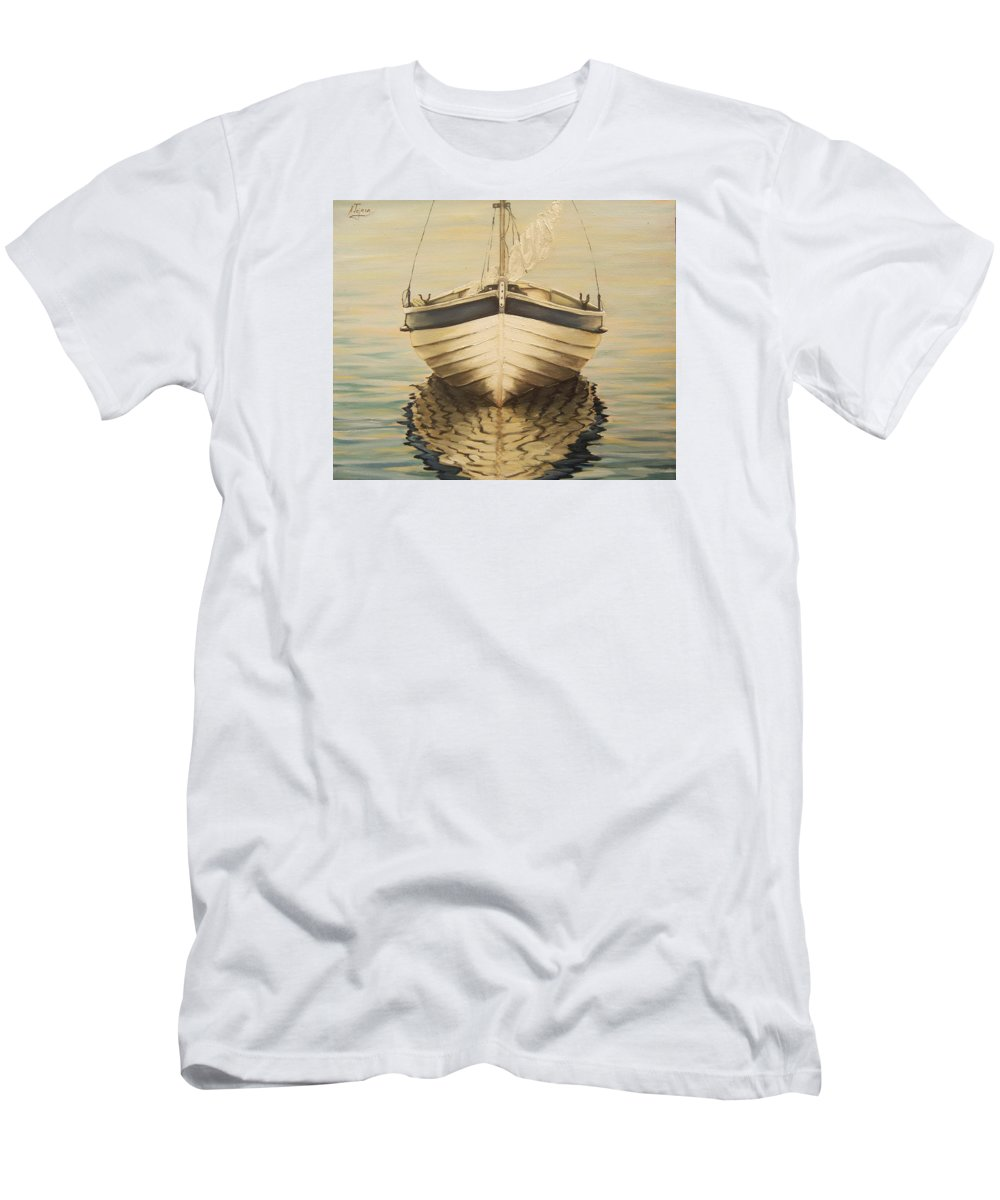 Seascape T-Shirt featuring the painting Serenity by Natalia Tejera