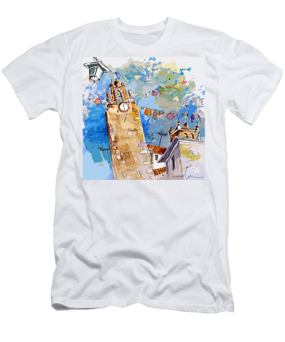 Painting Of Serpa Alentajo Portugal Travel Sketch T-Shirt featuring the painting Serpa Portugal 08 bis by Miki De Goodaboom
