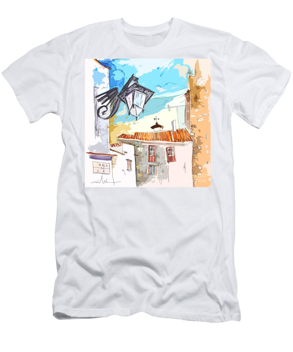 Painting Of Serpa Alentajo Portugal Travel Sketch T-Shirt featuring the painting Serpa Portugal 09 bis by Miki De Goodaboom