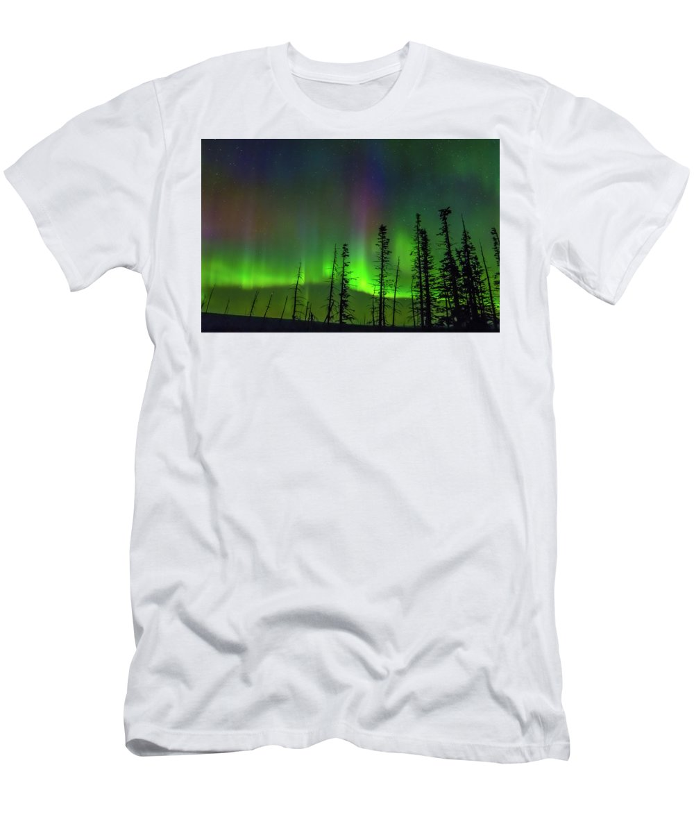 Northern Lights Men's T-Shirt (Athletic Fit) featuring the photograph Shafts Of Lights by Blake Passmore