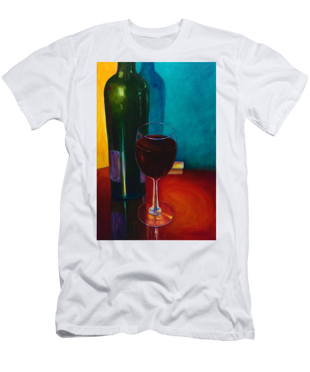 Wine Bottle Men's T-Shirt (Slim Fit) featuring the painting Shannon's Red by Shannon Grissom