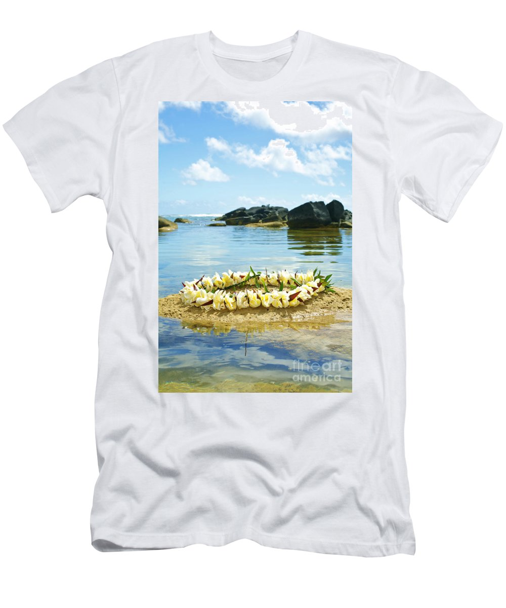 Anahola Men's T-Shirt (Athletic Fit) featuring the photograph Sharks Heiau With Lei by Kicka Witte - Printscapes