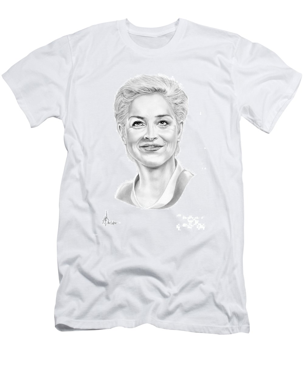 Drawing Men's T-Shirt (Athletic Fit) featuring the drawing Sharon Stone by Murphy Elliott