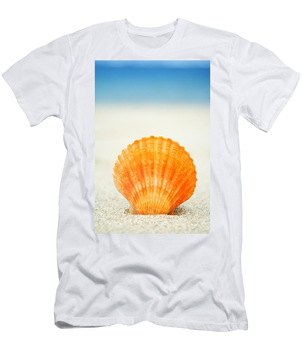 Afternoon Men's T-Shirt (Athletic Fit) featuring the photograph Shell On Beach by Mary Van de Ven - Printscapes