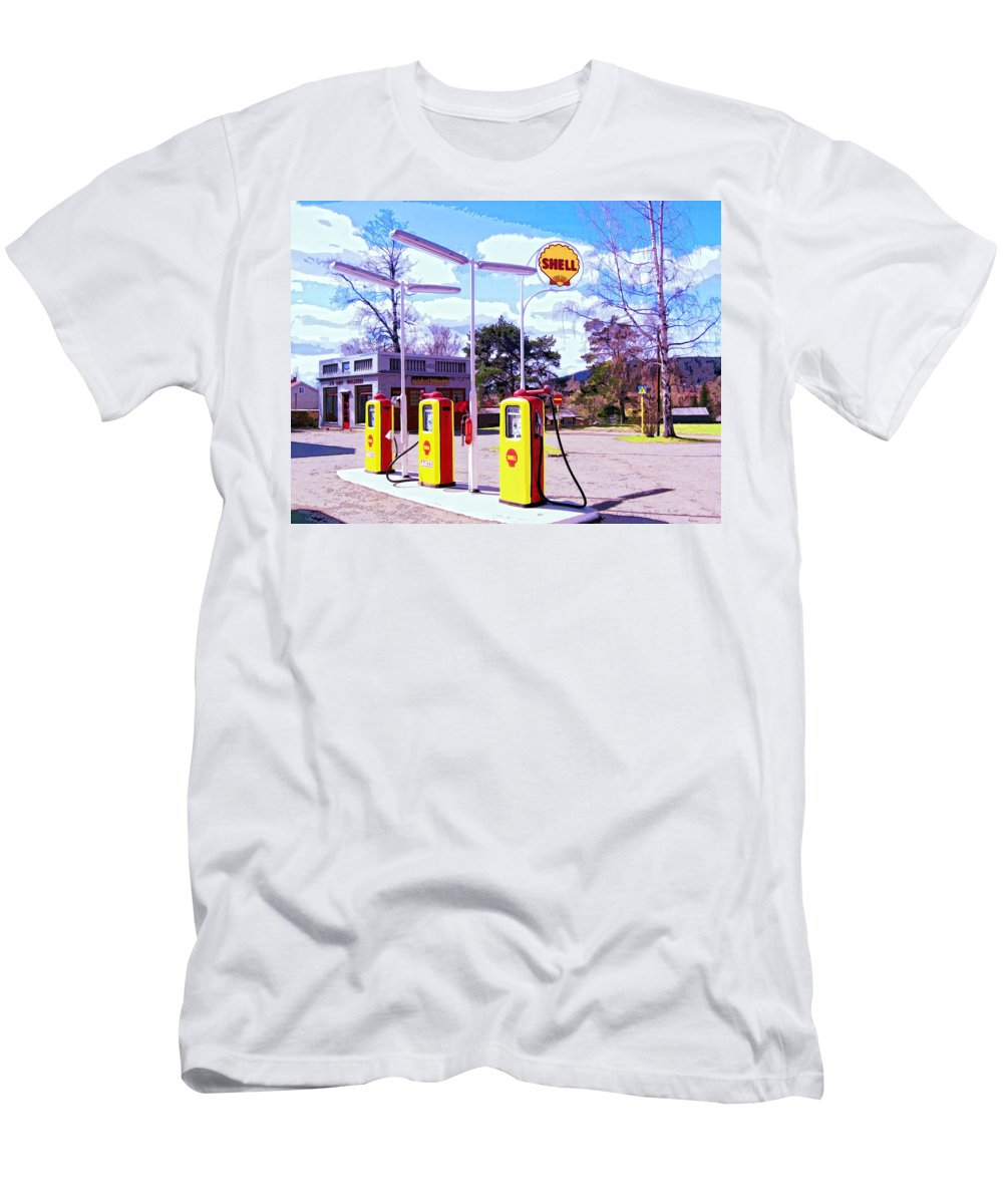 Shell Station Men's T-Shirt (Athletic Fit) featuring the mixed media Shell Station by Dominic Piperata