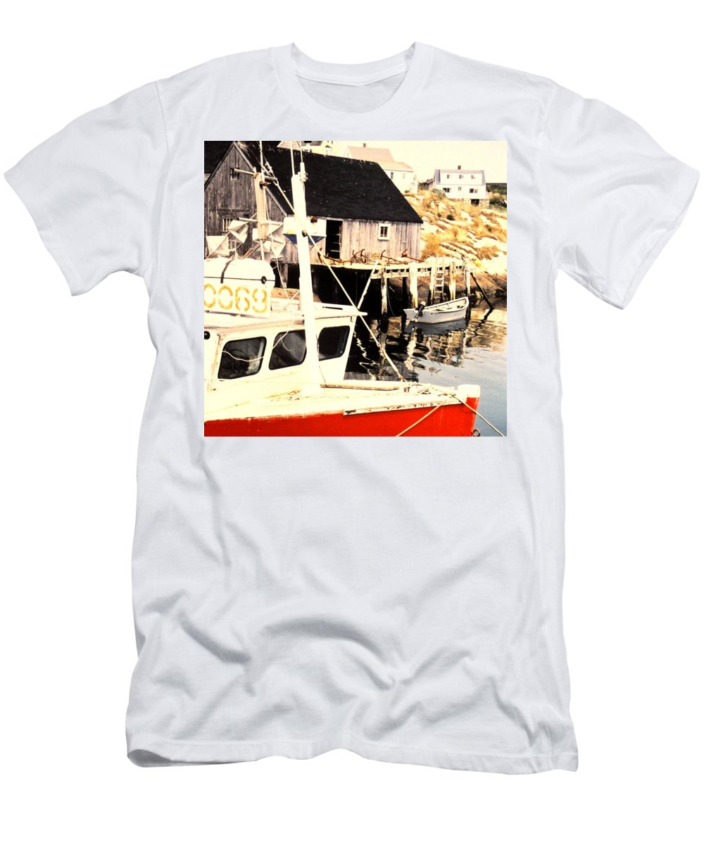 Peggys Cove Men's T-Shirt (Athletic Fit) featuring the photograph Sheltered Port by Ian MacDonald