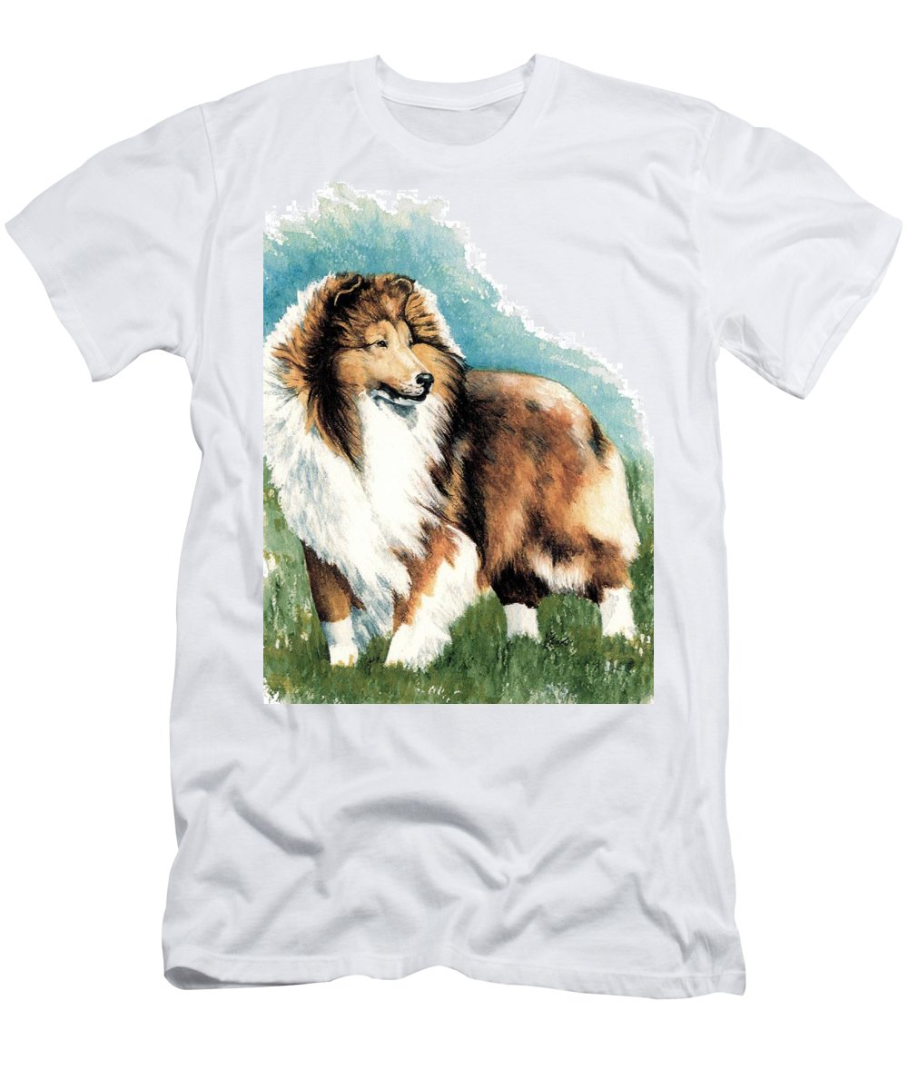 Shetland Sheepdog Men's T-Shirt (Athletic Fit) featuring the painting Sheltie Watch by Kathleen Sepulveda
