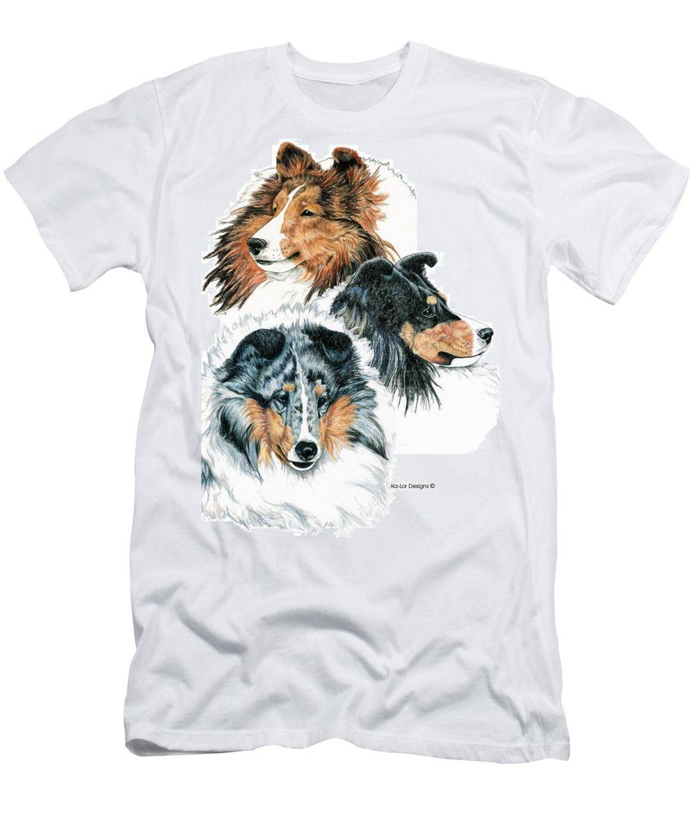 Shetland Sheepdog Men's T-Shirt (Athletic Fit) featuring the drawing Shetland Sheepdogs by Kathleen Sepulveda