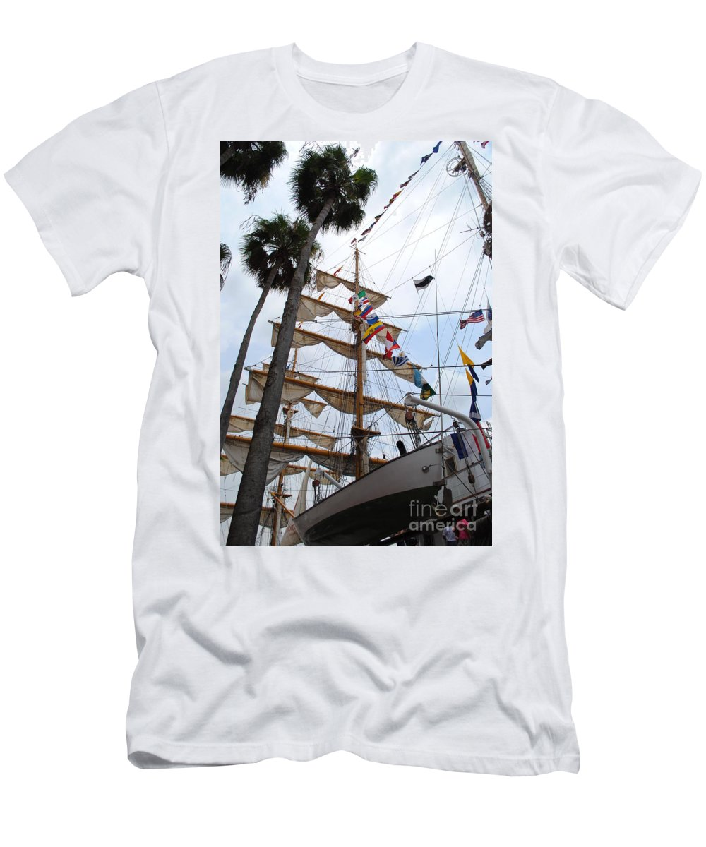 Ship Men's T-Shirt (Athletic Fit) featuring the photograph Ships Palm by Jost Houk