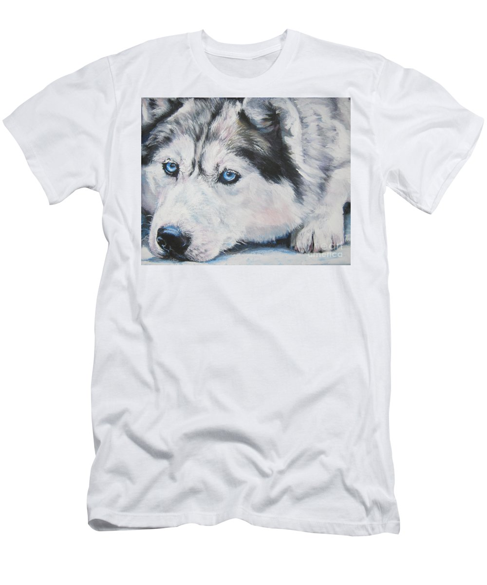 Dog Men's T-Shirt (Athletic Fit) featuring the painting Siberian Husky Up Close by Lee Ann Shepard