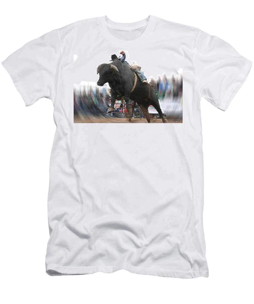 Cowboy Bull Riding Cow Rodeo Falling Entertainment Men's T-Shirt (Athletic Fit) featuring the photograph Sideways by Andrea Lawrence